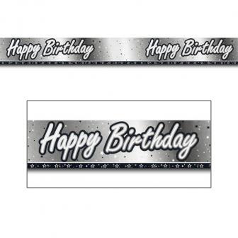 "Bannière en alu ""Black & White"" Happy Birthday! 274 cm"