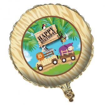 "Ballon en alu Happy Birthday ""Tournée Safari"" 45 cm"