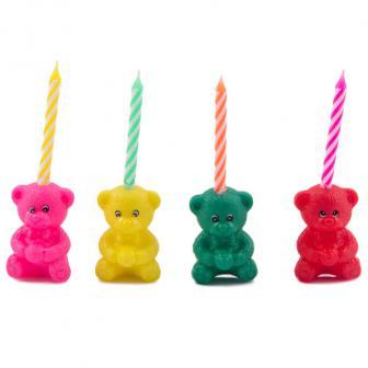 Bougies d'anniversaire avec oursons 12 pcs