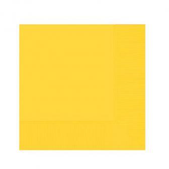 20 serviettes unies - jaune