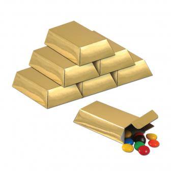 """12 coffrets cadeaux """"Lingot d'or"""" 8 cm"""