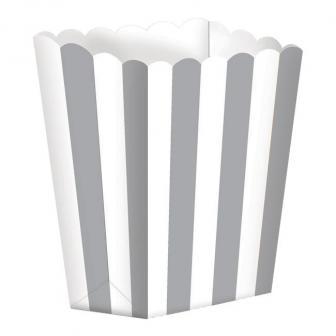 5 boîtes snack à rayures - gris