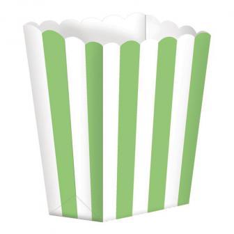 5 boîtes snack à rayures - vert