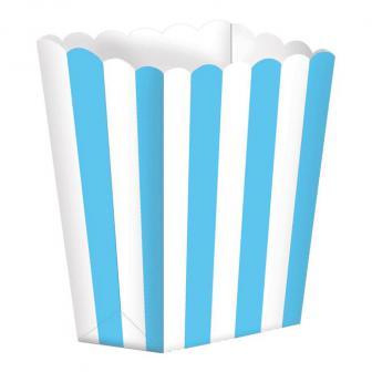 5 boîtes snack à rayures - bleu clair