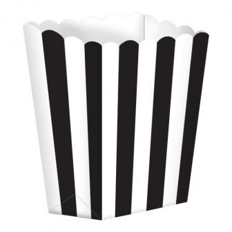 5 boîtes snack à rayures - noir