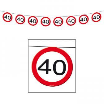 """Guirlande """"Panneau de limitation de vitesse 40 ans"""" 12 m"""