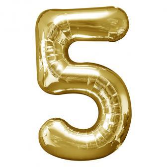 Ballon de chiffre en aluminium et brillant 58 x 88 cm - 5-doré
