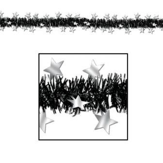"""Guirlande d'étoiles """"Glamour"""" 3,7 m - argenté-noir"""