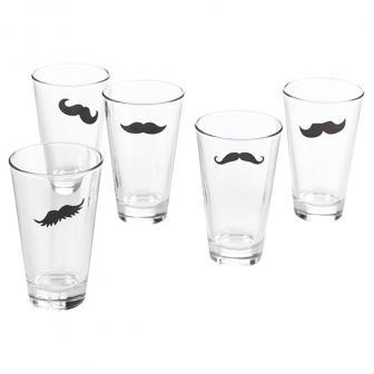 """16 autocollants pour verre """"Drôle de moustache"""""""