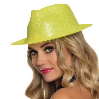 """Chapeau """"Paillettes"""" - jaune néon"""