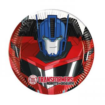 "8 petites assiettes en carton Transformers ""Robots in disguise"""