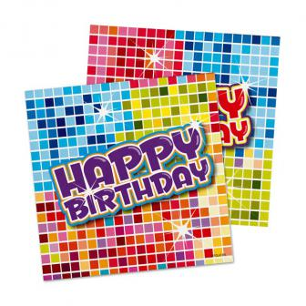 "16 petites serviettes ""Happy Crazy Birthday"""