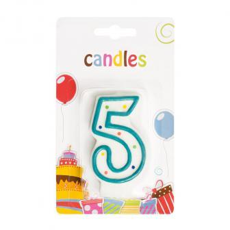 Bougie pour gâteau en forme de chiffre - 5