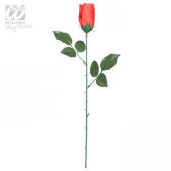 Rose rouge en plastique 43 cm