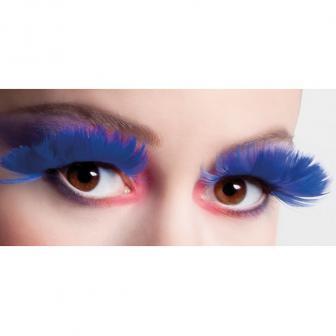 Faux cils en plume - bleu