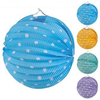 """Lampion avec lampe """"Pois colorés"""" 20 cm"""