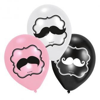 """6 ballons de baudruches """"Petites moustaches"""""""