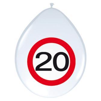"""8 ballons """"Panneau de limitation de vitesse"""" 20 Ans"""