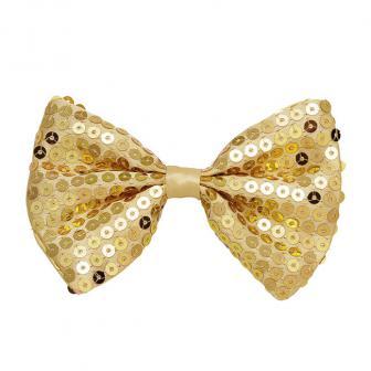 Noeud-papillon à paillettes - doré
