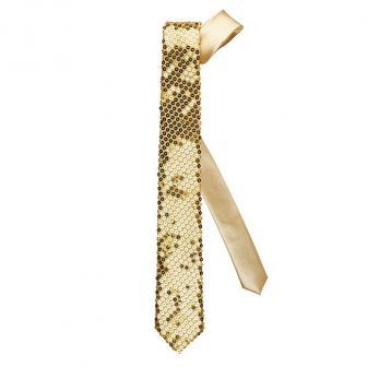 Cravate à paillettes - doré
