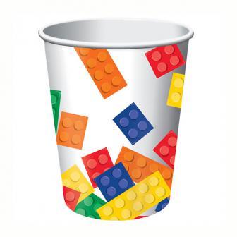 """8 gobelets en carton """"Briques colorées"""""""