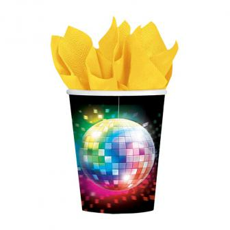 "8 gobelets en carton ""Disco Fever multicolore"""
