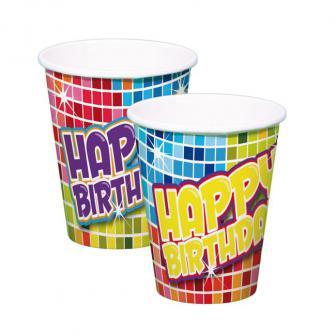 """6 gobelets en carton """"Happy Crazy Birthday"""""""