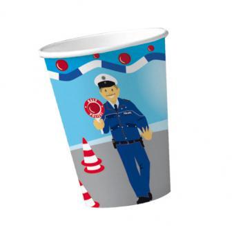 """8 gobelets en carton """"Police"""""""