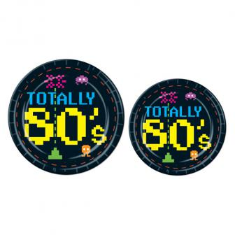 "8 assiettes en carton ""Totally 80's"""