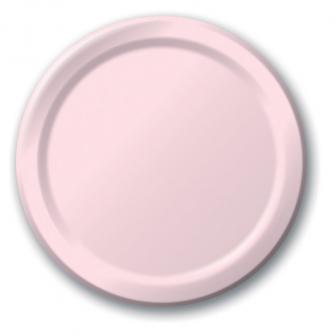 24 assiettes en carton - rose pâle