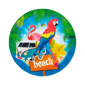 "8 assiettes en carton ""Beach-Party"""