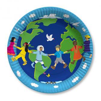 """8 assiettes en carton """"Notre planète"""""""