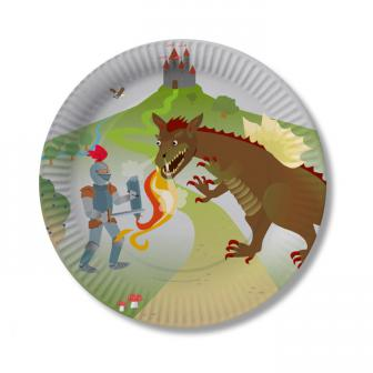 "8 assiettes en carton ""Chevalier & Dragon"""