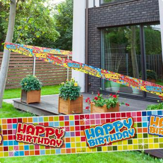 "Rouleau de rubalise ""Happy Crazy Birthday"" 7 m"