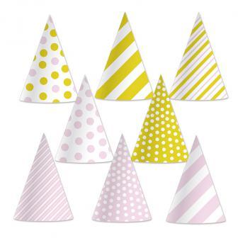 """8 chapeaux de fête """"Rose et doré"""""""