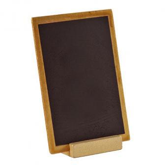 Ardoise en bois personnalisable avec présentoir 15 x 10 cm - doré