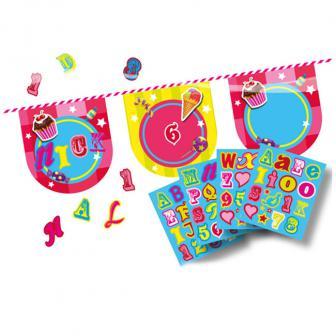 """Guirlande de fanions personnalisable """"Candy"""" 4 m"""