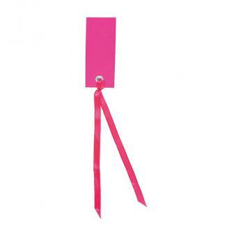 12 cartons nominatifs personnalisables avec ruban en satin - rose vif