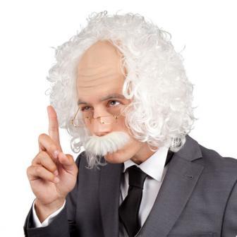 """Perruque """"Einstein"""" avec moustache & lunettes"""