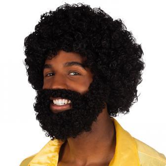 """Perruque afro avec barbe et moustache """"Soul man"""""""