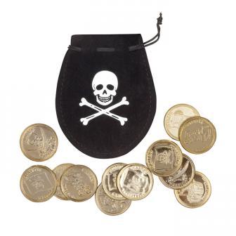 Besace pirate avec 12 pièces d'or