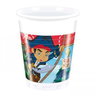 """8 gobelets en plastique """"Captain Jake & les pirates du pays imaginaire"""""""