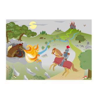 """6 sets de table """"Chevalier et dragon"""" 38 cm"""