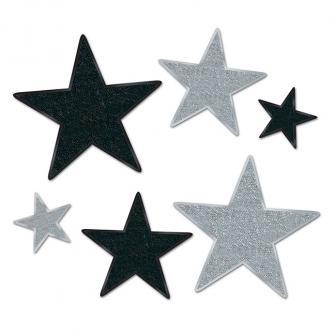 """Déco de salle """"Étoiles brillantes"""" 6 pcs - argent-noir"""