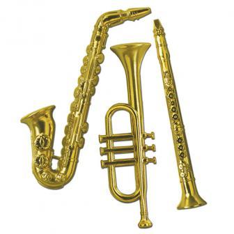 """Déco de salle """"Instruments de musique en or"""" 3 pcs 53 cm"""