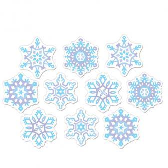 """Décos de salle """"Petits flocons de neige"""" en carton 10 pcs"""