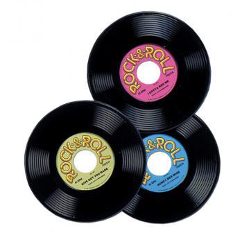 """Déco de salle """"Disque Rock & Roll"""" 3 pcs"""