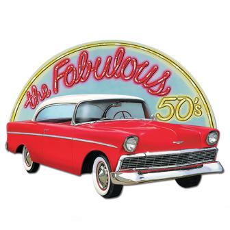 """Déco de salle """"Cadillac rouge"""" 62 cm"""