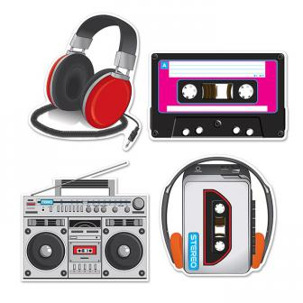 """Déco de salle """"80's Music"""" 4 pcs."""