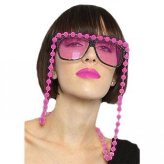 Lunettes roses avec collier de perles 14 cm